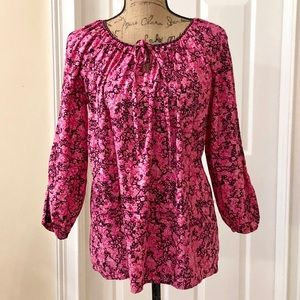 Tie front pink and black  floral blouse